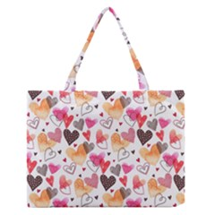 Colorful Cute Hearts Pattern Medium Zipper Tote Bag