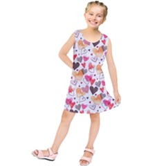 Colorful Cute Hearts Pattern Kids  Tunic Dress