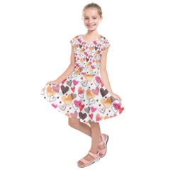 Colorful Cute Hearts Pattern Kids  Short Sleeve Dress