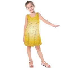 Gold Hearts Pattern Kids  Sleeveless Dress
