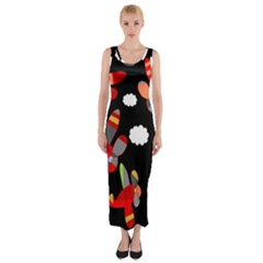 Playful airplanes  Fitted Maxi Dress