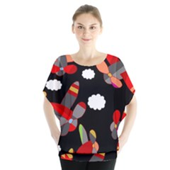 Playful airplanes  Blouse
