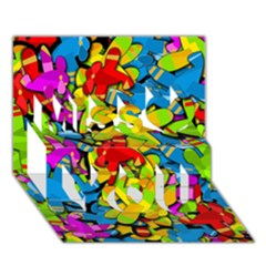 Colorful airplanes Miss You 3D Greeting Card (7x5)