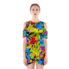 Colorful Airplanes Cutout Shoulder Dress