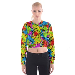 Colorful airplanes Women s Cropped Sweatshirt