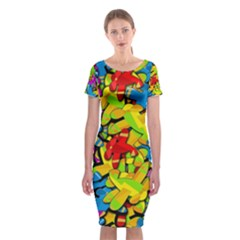 Colorful airplanes Classic Short Sleeve Midi Dress
