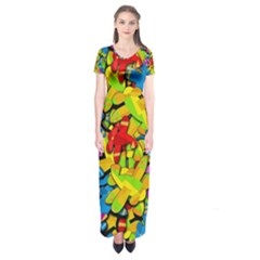 Colorful airplanes Short Sleeve Maxi Dress