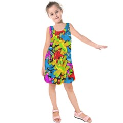 Colorful airplanes Kids  Sleeveless Dress