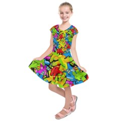 Colorful airplanes Kids  Short Sleeve Dress