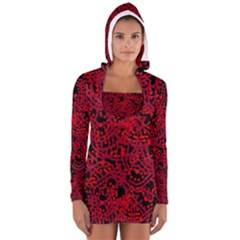 Red emotion Women s Long Sleeve Hooded T-shirt