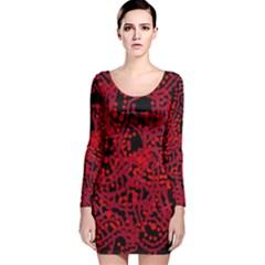 Red emotion Long Sleeve Velvet Bodycon Dress