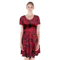 Red emotion Short Sleeve V-neck Flare Dress