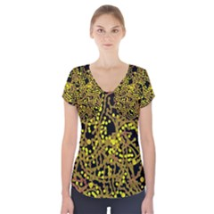Yellow emotions Short Sleeve Front Detail Top