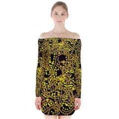 Yellow Emotions Long Sleeve Off Shoulder Dress
