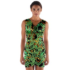 Green Emotions Wrap Front Bodycon Dress