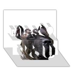 Perro De Pressa Miss You 3D Greeting Card (7x5)