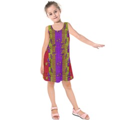 Raining Flowers From The Sky Kids  Sleeveless Dress