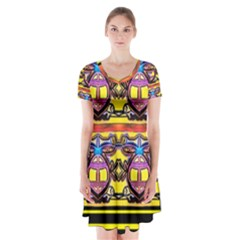 Spirit  Bulgarian Bee Short Sleeve V-neck Flare Dress