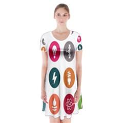 Acces Image Consumer News Letter Short Sleeve V Neck Flare Dress