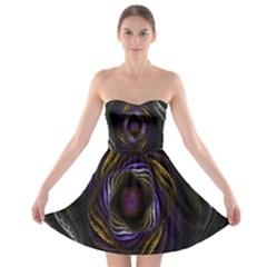 Abstract Fractal Art  Strapless Bra Top Dress