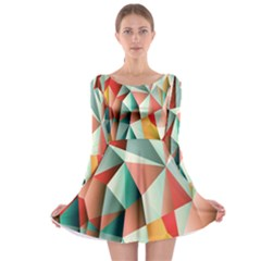 Abstracts Colour Long Sleeve Skater Dress