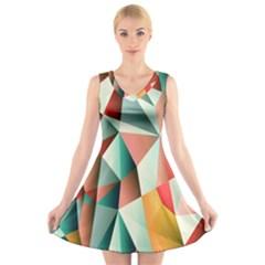 Abstracts Colour V-Neck Sleeveless Skater Dress