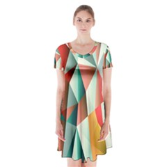 Abstracts Colour Short Sleeve V-neck Flare Dress