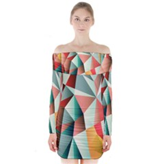 Abstracts Colour Long Sleeve Off Shoulder Dress