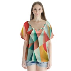 Abstracts Colour Flutter Sleeve Top