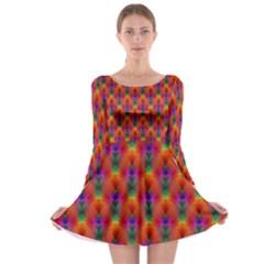 Apophysis Fractal Owl Neon Long Sleeve Skater Dress
