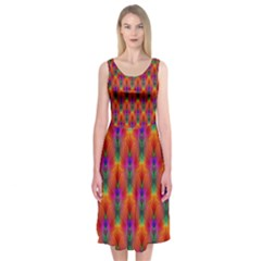 Apophysis Fractal Owl Neon Midi Sleeveless Dress