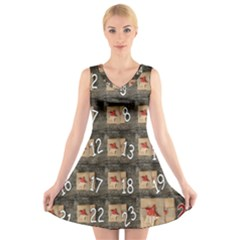 Advent Calendar Door Advent Pay V-Neck Sleeveless Skater Dress