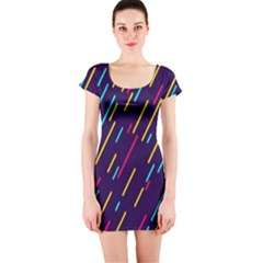 Background Lines Forms Short Sleeve Bodycon Dress