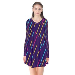 Background Lines Forms Flare Dress