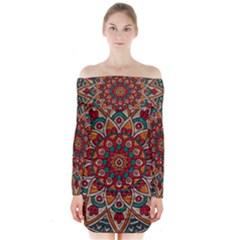 Background Metallizer Pattern Art Long Sleeve Off Shoulder Dress