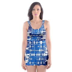 Board Circuits Trace Control Center  Skater Dress Swimsuit