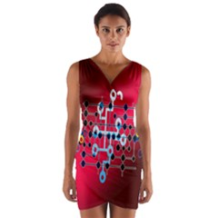 Board Circuits Trace Control Center   Wrap Front Bodycon Dress