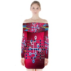 Board Circuits Trace Control Center   Long Sleeve Off Shoulder Dress