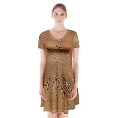 Circuit Board Pattern Short Sleeve V-neck Flare Dress