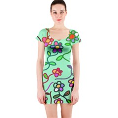 Flowers Floral Doodle Plants Short Sleeve Bodycon Dress