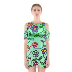 Flowers Floral Doodle Plants Cutout Shoulder Dress