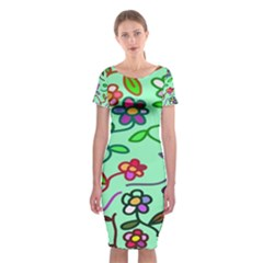 Flowers Floral Doodle Plants Classic Short Sleeve Midi Dress