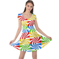 Colorful Abstract Creative Cap Sleeve Dresses