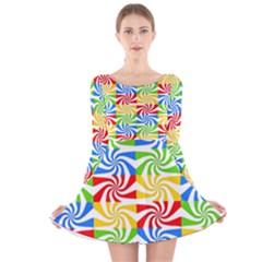 Colorful Abstract Creative Long Sleeve Velvet Skater Dress