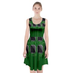 Green Circuit Board Pattern Racerback Midi Dress