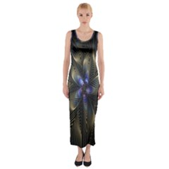 Fractal Blue Abstract Fractal Art Fitted Maxi Dress