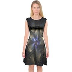 Fractal Blue Abstract Fractal Art Capsleeve Midi Dress
