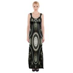 Fractal Beige Blue Abstract Maxi Thigh Split Dress