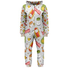 Funny Cat Food Succulent Pattern  Hooded Jumpsuit (Ladies)