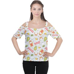 Funny Cat Food Succulent Pattern  Women s Cutout Shoulder Tee